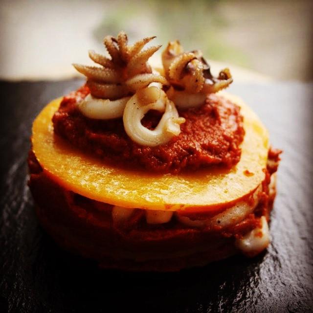 Kürbis-Lasagne Oktopus