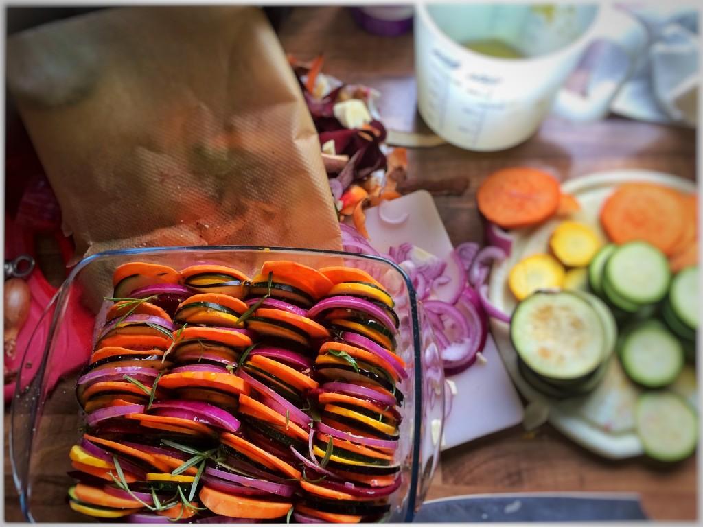 Gemüseauflauf in Küche
