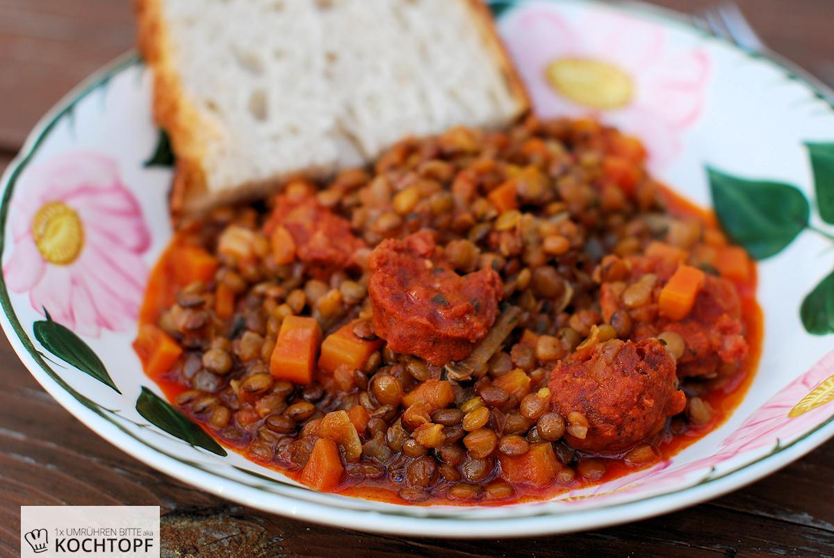 Glückslinsen für Silvester oder den 1. Januar, mit Chorizo eine feurige Mahlzeit!