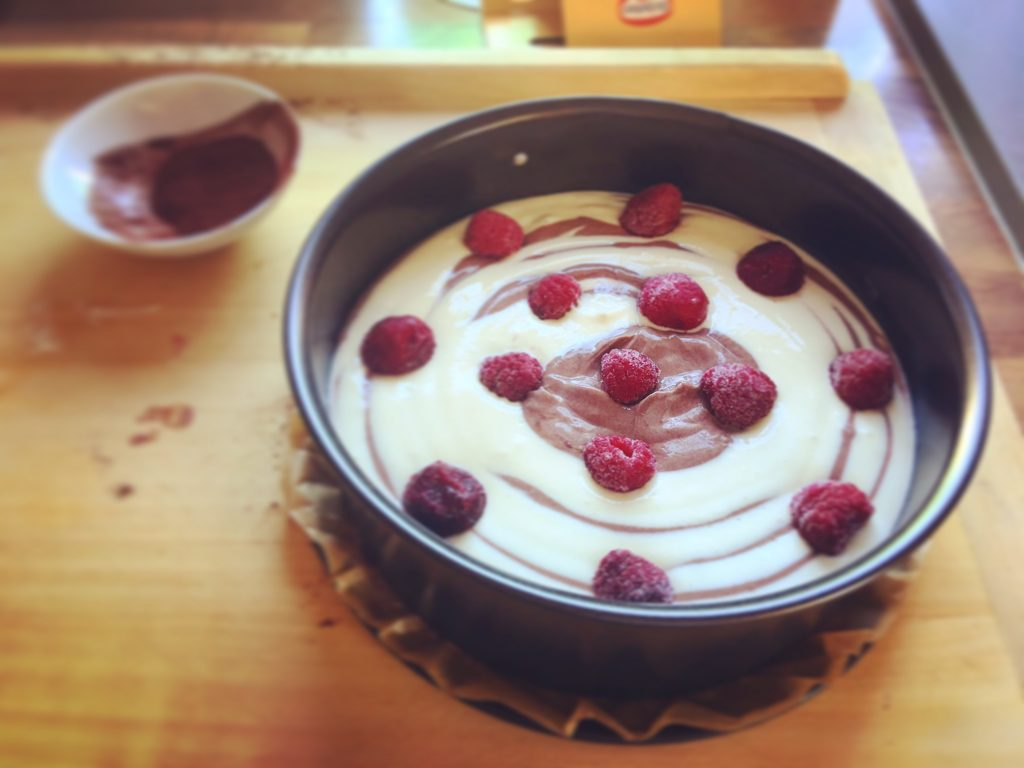 Zebra Cheesecake Low Carb vor dem Backen
