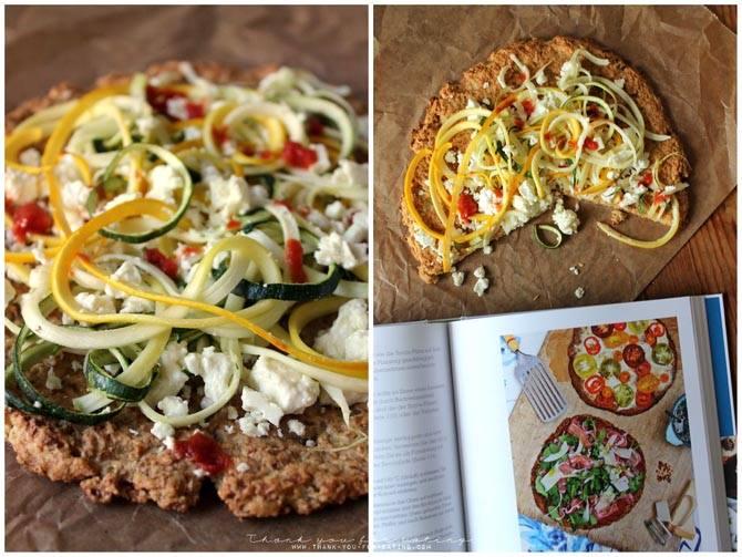 Blumenkohl-Pizza mit Zucchini und Fetakäse