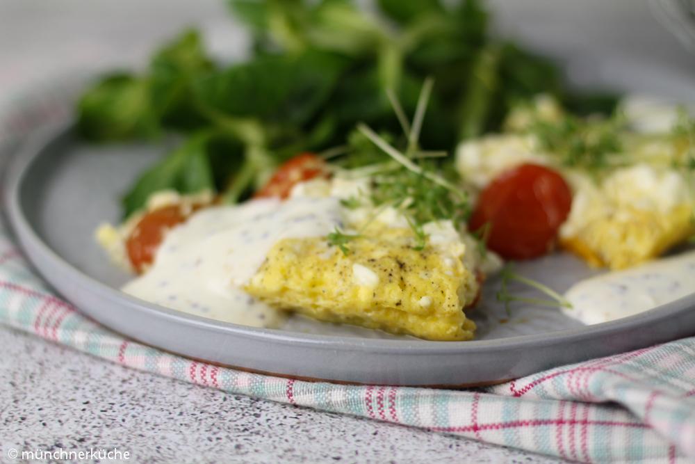 Tomaten-Omelette mit Senfsoße