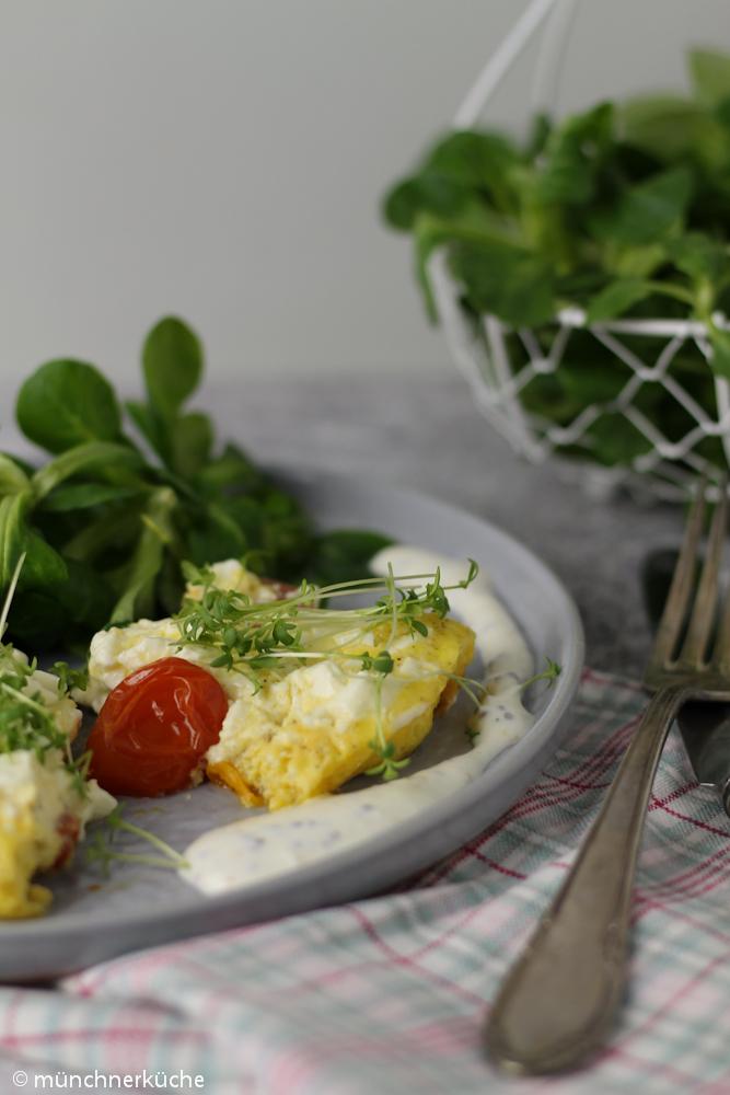 Tomaten-Omelette mit Senfsoße schnell und gesund