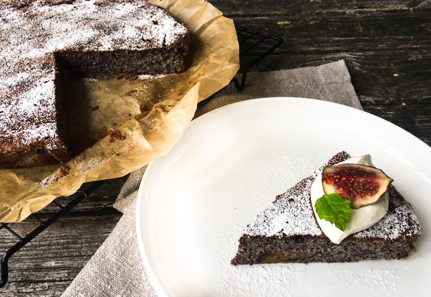 Mohnkuchen mit Birnen und Quark ohne Mehl