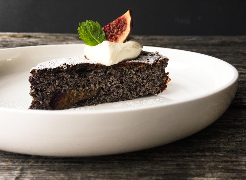 Mohnkuchen mit Birnen und Quark ohne Fett