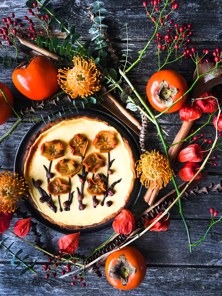 Persimon-Cheesecake auf Kokos-Mürbeteig LC