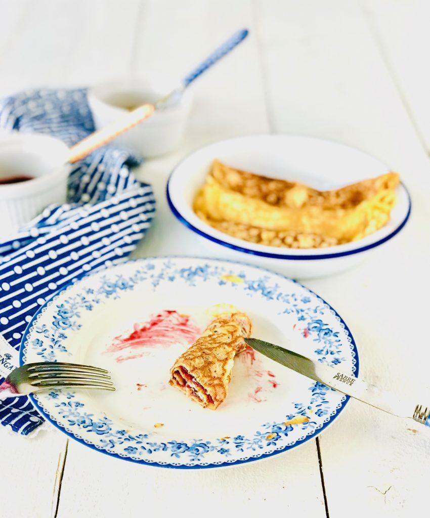 Pfannkuchen halb aufgegessen