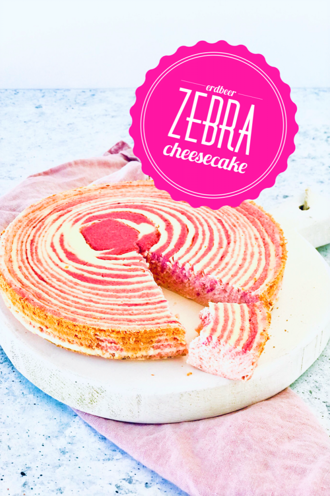 Zebra Kuchen mit Erdbeeren