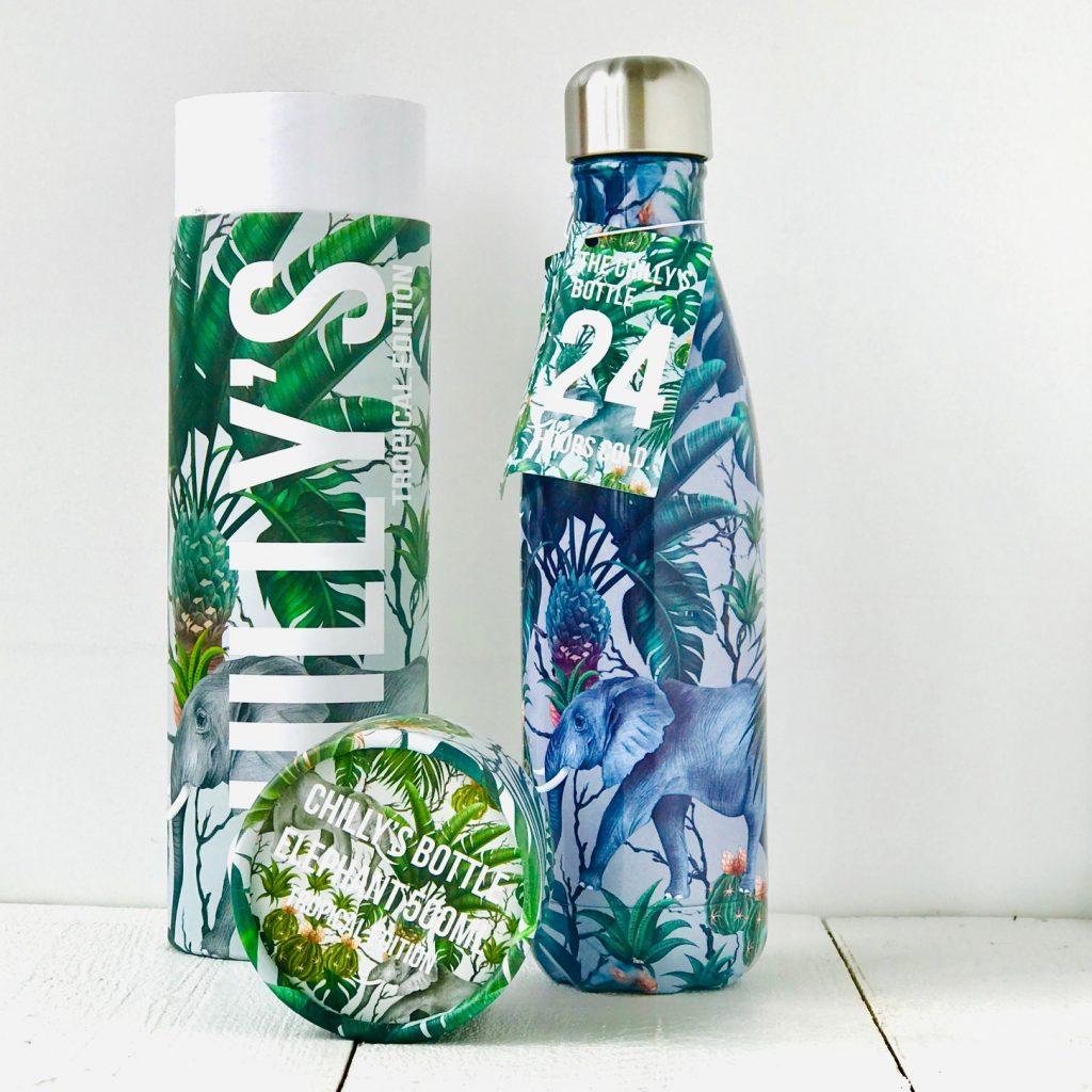 Chilly's Bottle geöffnet mit Elefantenmotiv