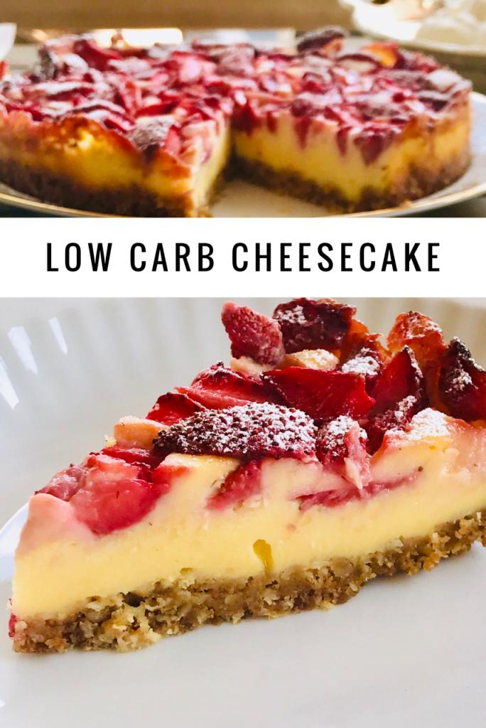 Low Carb Käsekuchen mit Erdbeeren, ein Stück, mit Puderzucker