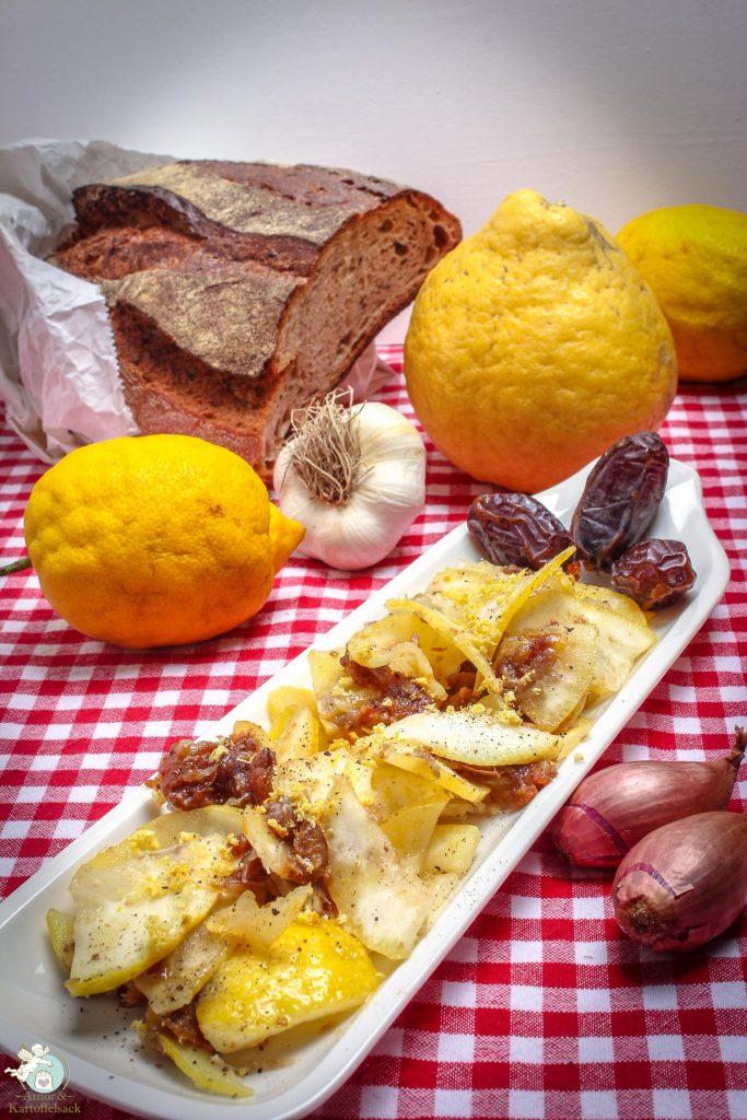 Salat mit Zedri Zitrone und Datteln