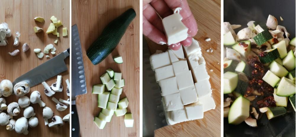 Zucchini-Pilz-Tofu Zubereitung