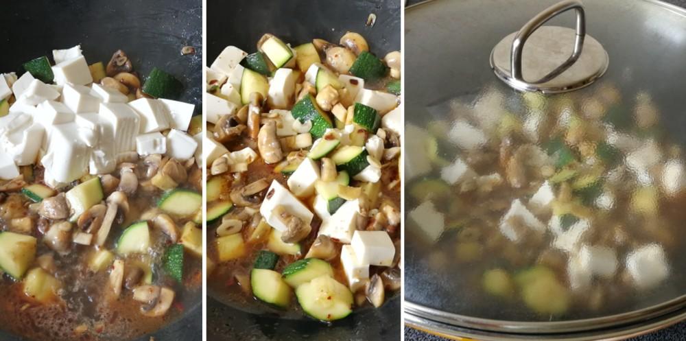 Zucchini mushroom tofu roast in wok