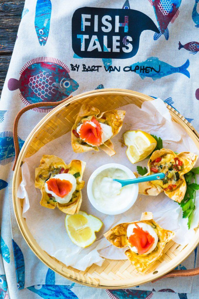 Geräucherter Sockeye Wildlachs von Fish Tales als Topping für kleine Filoteig Quiches