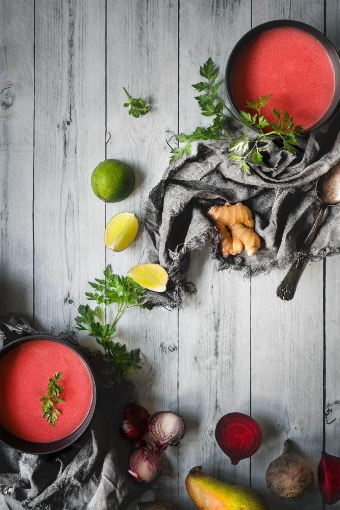 Rote Bete-Birnen Kokossuppe
