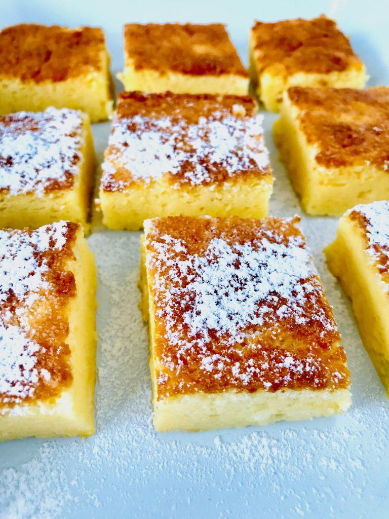 Einfacher Joghurtkuchen ohne Mehl und Zucker Nahaufnahme mit Puderzucker
