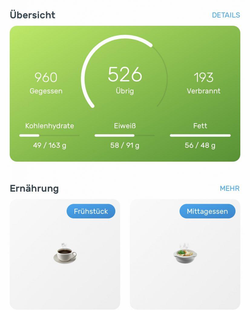 Yazio Verteilung der Kalorien in der App