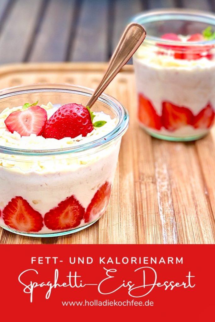 Spaghetti-Eis Dessert Grafik für Pinterest