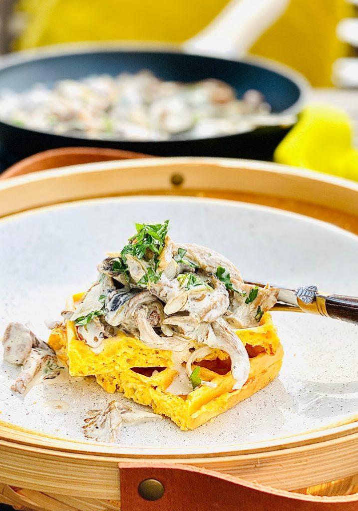 Pilzrahmsoße aus dreierlei Pilzen auf einer Waffel im weißen Teller.