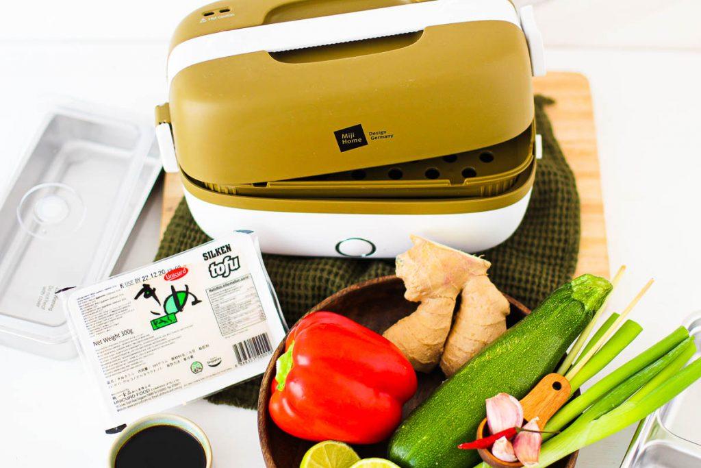 Miji Cooking Box One mit den Zutaten für das Rezept