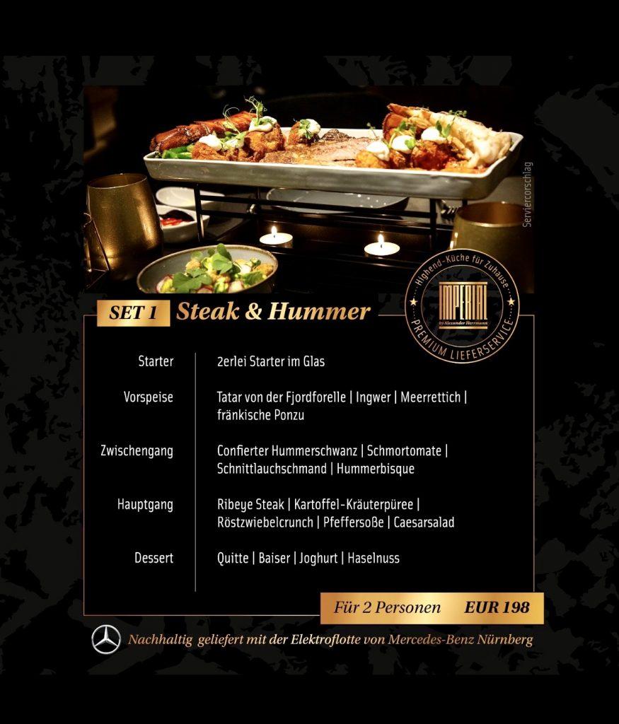 """Alexander Herrmann Premium Delivery Menüs - zuhause genießen - Menü """"Steak & Hummer"""""""