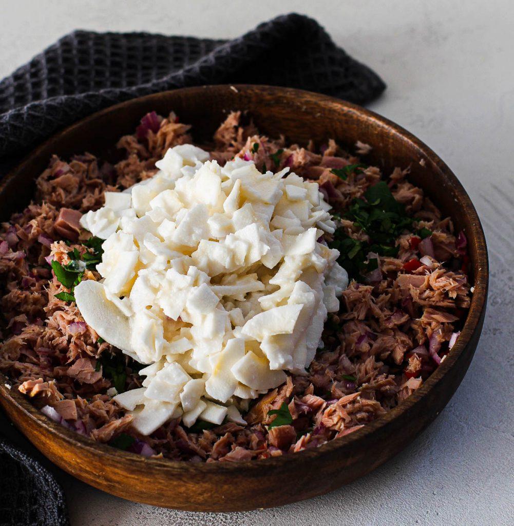 Thunfisch mit Kokosraspeln Zubereitung Mix