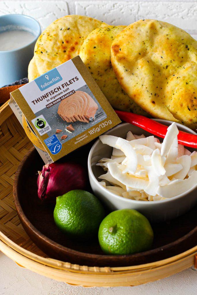 Zutaten Thunfisch mit Kokosraspeln