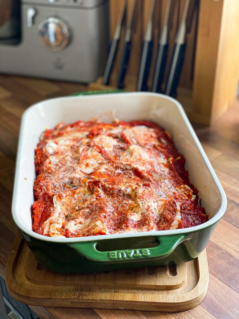 Vegetarische Lasagne mit meinem genial einfachen Sugo - vor dem Backen